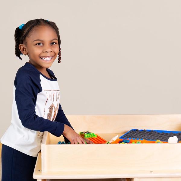 Large Preschool STEM Bin Cart w/ Tabletop & Lip