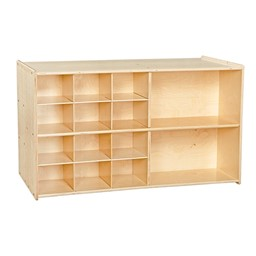 12-Tray Double Wooden Mobile Storage Unit - Assembled & w/o Trays - Front