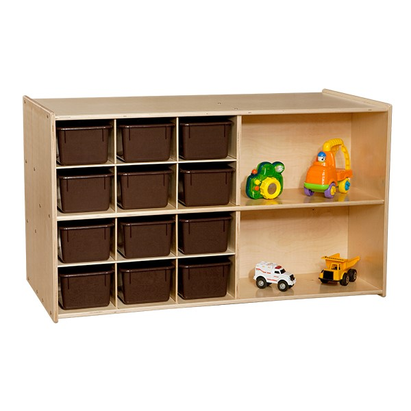 12-Tray Double Wooden Mobile Storage Unit w/ Chocolate Trays – Front - Accessories not included