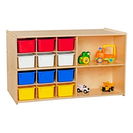 12-Tray Double Wooden Mobile Storage Unit - Unassembled & w/ Colorful Trays - Front - Accessories not included