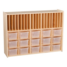 Wooden Storage Cabinet w/ 15 Clear Bins & Paper Slots - Assembled