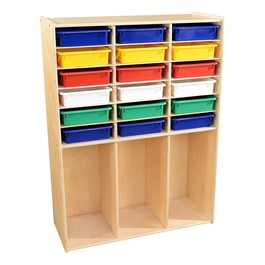 Wooden Cabinet w/ 18 Assorted Color Bins