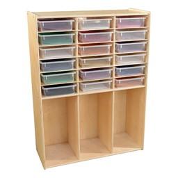 Wooden Cabinet w/ 18 Bins-7hown et Freen