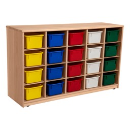 Maple 20-Tray Cubby Storage Unit w/ Assorted Color Trays