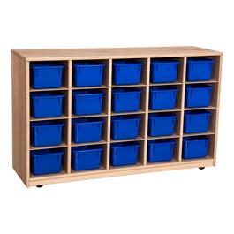 Maple 20-Tray Cubby Storage Unit w/ Blue Trays