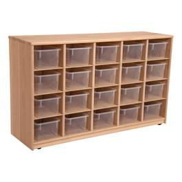 Maple 20-Tray Cubby Storage Unit w/ Clear Trays