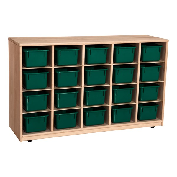 Maple 20-Tray Cubby Storage Unit w/ Green Trays