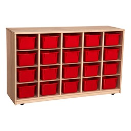 Maple 20-Tray Cubby Storage Unit w/ Red Trays