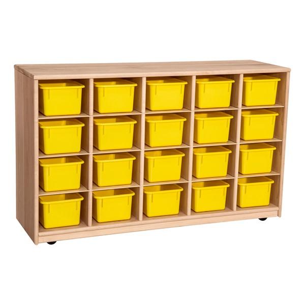 Maple 20-Tray Cubby Storage Unit w/ Yellow Trays