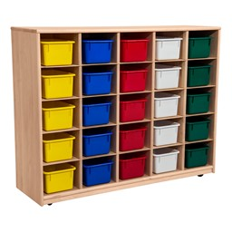 Maple 25-Tray Cubby Storage Unit w/ Assorted Color Trays