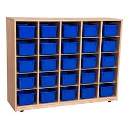 Maple 25-Tray Cubby Storage Unit w/ Blue Trays
