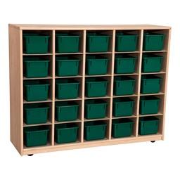 Maple 25-Tray Cubby Storage Unit w/ Green Trays