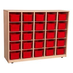 Maple 25-Tray Cubby Storage Unit w/ Red Trays