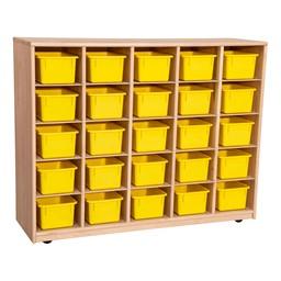 Maple 25-Tray Cubby Storage Unit w/ Yellow Trays