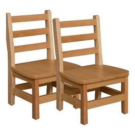 "Hardwood Ladderback Chair (8"" Seat Height) - Pack of Two"