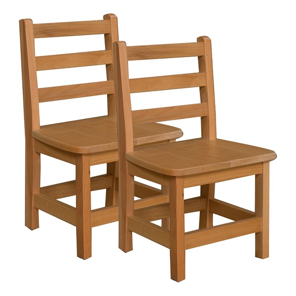 """Hardwood Ladderback Chair (12"""" Seat Height) - Pack of Two"""