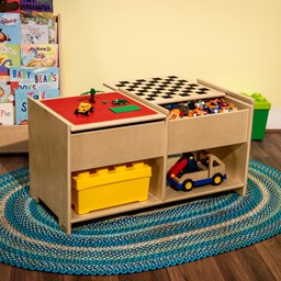 Wooden Four-in-One Game Table with Checkerboard