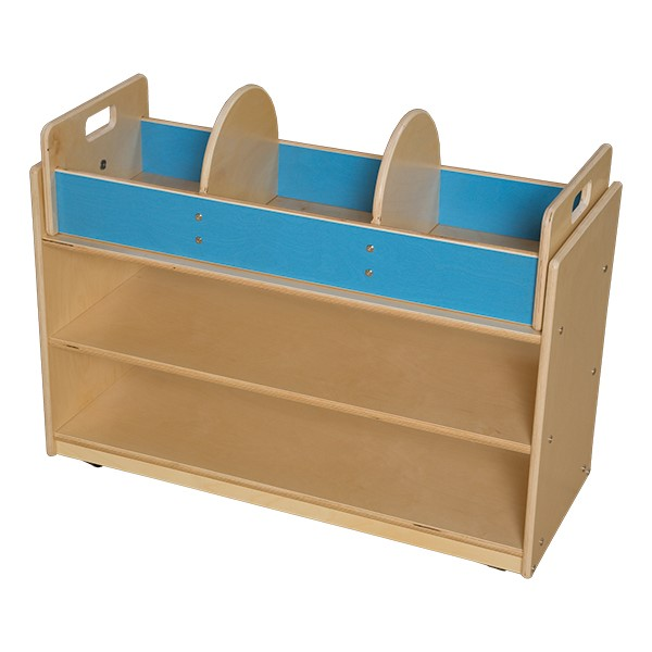 Mobile Base Cabinet w/ Book Storage Topper - Unassembled
