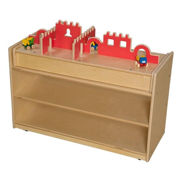 Mobile Base Cabinet w/ Castle Topper - Unassembled