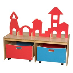 Castle Play w/ Storage Bins - Red/blue