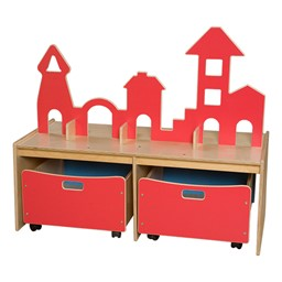 Castle Play w/ Storage Bins - Red