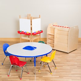 Art Station w/ Pack of Four Assorted Color Structure Series Preschool Chairs