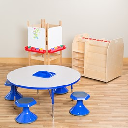 Art Station w/ Four Preschool Active Learning Stools