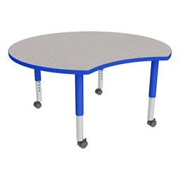 Crescent Adjustable-Height Mobile Preschool Collaborative Learning Table - Gray Top/Blue Edgeband