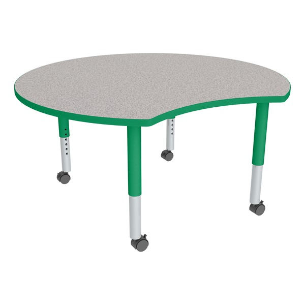 Crescent Adjustable-Height Mobile Preschool Collaborative Learning Table - Gray Top/Green Edgeband