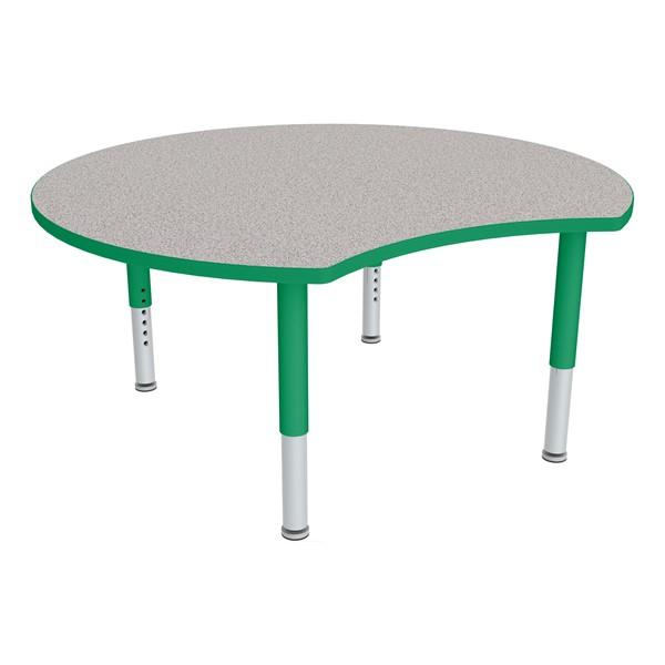 Crescent Adjustable-Height Mobile Preschool Collaborative Table - Gray Nebula Top/Green Edge Band