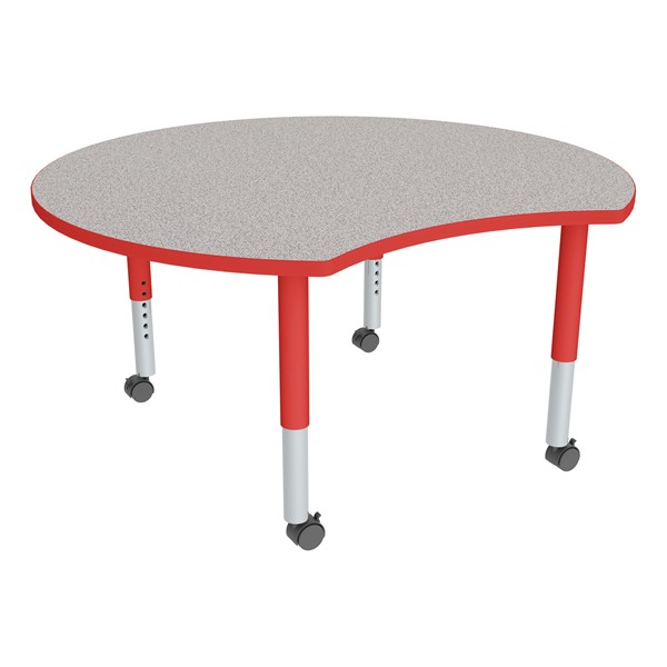 Crescent Adjustable-Height Mobile Preschool Collaborative Learning Table - Gray Top, Red Edge Band