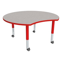 Crescent Adjustable-Height Mobile Preschool Collaborative Table - Gray Top, Red Edge Band