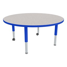 Round Adjustable-Height Mobile Preschool Activity Table - Gray Top, Blue Edge Band