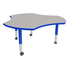Cog Adjustable-Height Mobile Preschool Collaborative Table - Gray Top, Blue Edge Band