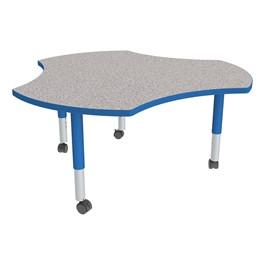Cog Adjustable-Height Mobile Preschool Collaborative Table - Gray Top, Blue Edge Band