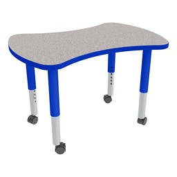 Bow Tie Adjustable-Height Mobile Preschool Collaborative Table - Gray Top/Blue Edgeband
