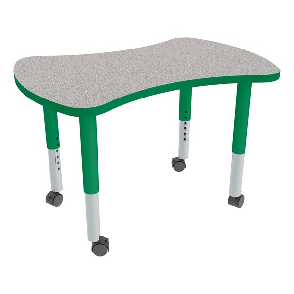Bow Tie Adjustable-Height Mobile Preschool Collaborative Table - Gray Top/Green Edgeband
