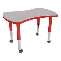 Bow Tie Adjustable-Height Mobile Prescchool Collaborative Table - Gray Top, Red Edge Band