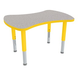 Bow Tie Adjustable-Height Mobile Preschool Collaborative Table - Yellow