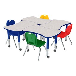 Preschool Bow Tie Mobile Collaborative Table & Assorted Chair Set
