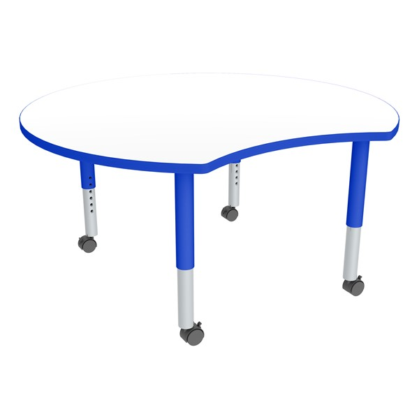 Crescent Adjustable-Height Mobile Preschool Collaborative Table w/ Whiteboard Top - Whiteboard Top/Blue Edgeband