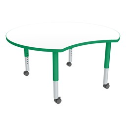 Crescent Adjustable-Height Mobile Preschool Collaborative Table w/ Whiteboard Top - Whiteboard Top/Green Edgeband