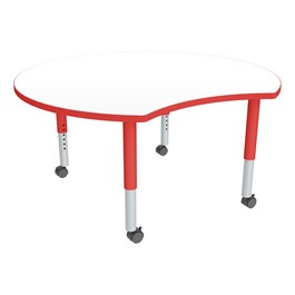 Crescent Adjustable-Height Mobile Preschool Collaborative Table w/ Whiteboard Top