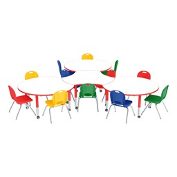 Preschool Crescent & Cog Mobile Collaborative Table w/ Whiteboard Top & Assorted Chair Set