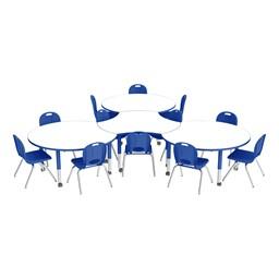 Preschool Crescent & Cog Mobile Collaborative Table w/ Whiteboard Top & Chair Set