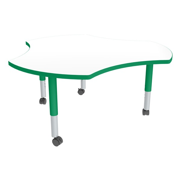 Cog Adjustable-Height Mobile Preschool Collaborative Table w/ Whiteboard Top - Casters - Whiteboard Top/Green Edgeband