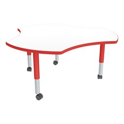Cog Adjustable-Height Mobile Preschool Collaborative Table w/ Whiteboard Top - Casters - Whiteboard Top/Red Edgeband