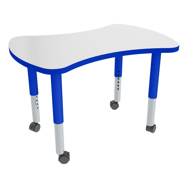 Bow Tie Adjustable-Height Mobile Preschool Collaborative Table w/ Whiteboard Top - Casters - Whiteboard Top/Blue Edgeband