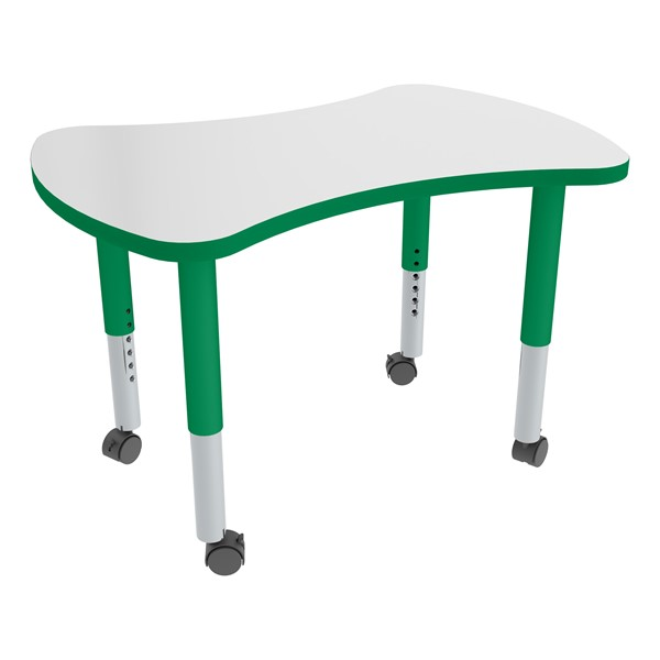 Bow Tie Adjustable-Height Mobile Preschool Collaborative Table w/ Whiteboard Top - Casters - Whiteboard Top/Green Edgeband