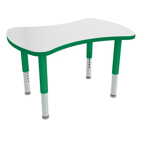 Bow Tie Adjustable-Height Mobile Preschool Collaborative Table - Green